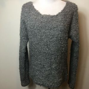 Express gray knit long sleeve pullover sweater top